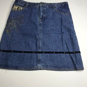 Mary-Kate and Ashley size 16 denim studded skirt